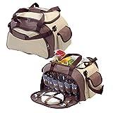 elasto Picknicktasche für 6 Personen inklusive 41-teiligem Geschirr mit integriertem Kühlfach...