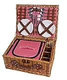eGenuss LY12041 Handgefertigtes Picknickkorb für 4 Personen mit Kühlfach - Inklusive...