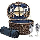 HappyPicnic Oval Picnickorb für 2 Personen mit Kühlfach und Besteck, Naturweide Picknickkoffer mit...