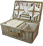 HappyPicnic Weide Picknickkorb Set für 4 Personen mit Kühlfach, Picknickkoffer mit Besteck,...