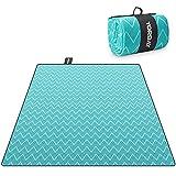 Yorbay Picknickdecke 200 x 200 cm XXL Fleece wasserdicht Decke mit Tragegriff Mehrweg (Welle)