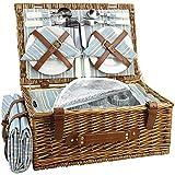 HappyPicnic Wicker Picknickkorb für 4 Personen, Willow Storage Hamper Service Geschenkset für...